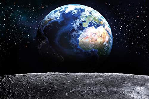 GREAT ART Fototapete – Planet Erde – Wandbild Dekoration Welt Earth Mond Galaxy Universum All Cosmos Space Weltkugel Sterne Moon Weltall Orbit Wandtapete Fotoposter Wanddeko (336 x 238cm)