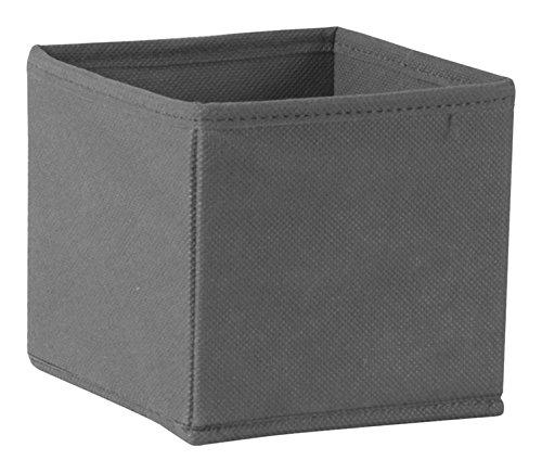 House Box RANGTI002 Rangement pour Tiroir Pliable avec Zip Synthétique Gris 14 x 14 x 13 cm