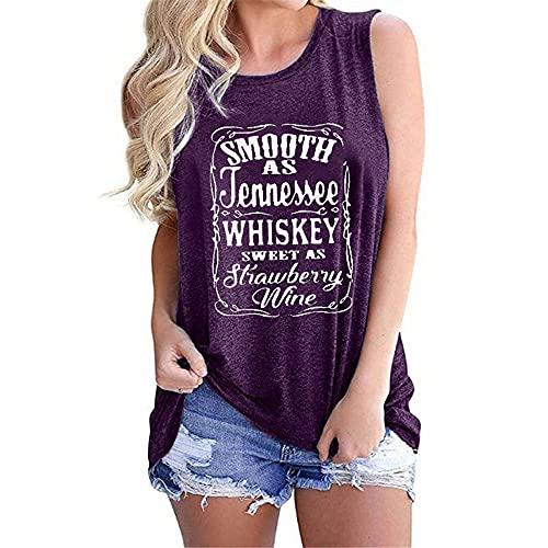 Tops Mujer Camiseta Sin Mangas Mujer Sexy Cool Suelta Cómoda Sin Mangas Cuello Redondo Top Verano Moda Urbana Estampado De Letras Elegante Mujer Camiseta Mujer Blusa C-Light Purple XXL