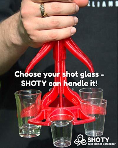 SHOTY® dein Kleiner Barkeeper inkl. 6 Pinnchen - Schnaps Ausgießer - Schnapsspender - Schnaps Geschenk - Schnapshalter - Trinkspiel - Schnaps Verteiler (Rot/Rot) - 4