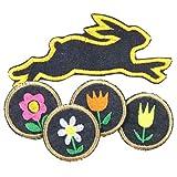 Bügelbilder Hasen Frühlings Set 5 Aufbügler 4 runde Blumen Flicken zum aufbügeln 5cm Tulpen Blümchen Margeriten und Jeans Häschen Patch Osterspecial von flickli