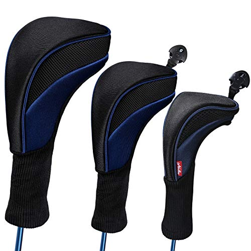 LONGCHAO Black Golf Head Covers Driver 1 3 4 5 7 X Fairway Woods Headcovers Long Neck Neoprene Protective Covers with Interchangeable No. Tags Fits All Fairway and Driver Clubs(3pcs)