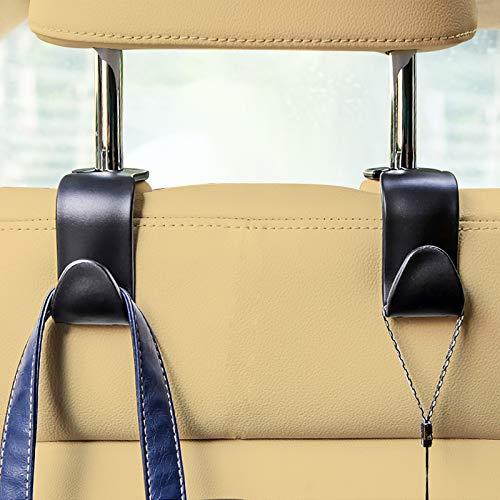 EldHus 4-Pack Car Vehicle Back Seat Headrest Hooks Hanger Storage for Purse Groceries Bag Handbag, Black