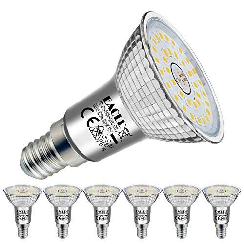 EACLL E14 LED 4000K Neutralweiss 6W Leuchtmittel 820 Lumen Birnen kann Ersetzen 65W Halogen Glühbirnen. AC 230V Kein Strobe Energiesparlampe, Abstrahlwinkel 120° Strahler, R50 Reflektor Lampen, 6 Pack