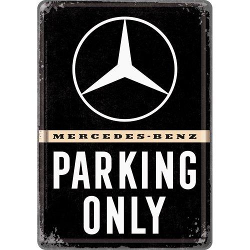Nostalgic-Art 10313 Mercedes-Benz-Parking Only 10x14 cm | Grußkarte | Retro Postkarte Blechpostkarte, Metall, Bunt, 10 x 14 x 0.1 cm