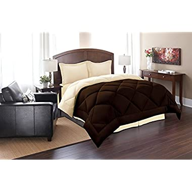 Super Soft Goose Down 3pc REVERSIBLE Alternative Comforter - All Sizes and Many Colors Available , KING , Brown/Cream