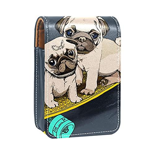 Estuche de lápiz Labial para Bolsa de Maquillaje para Exterior Mini Bolsa de Viaje Estuche cosmético Patrón de Perro Scooter Animal para Mujeres Regalos