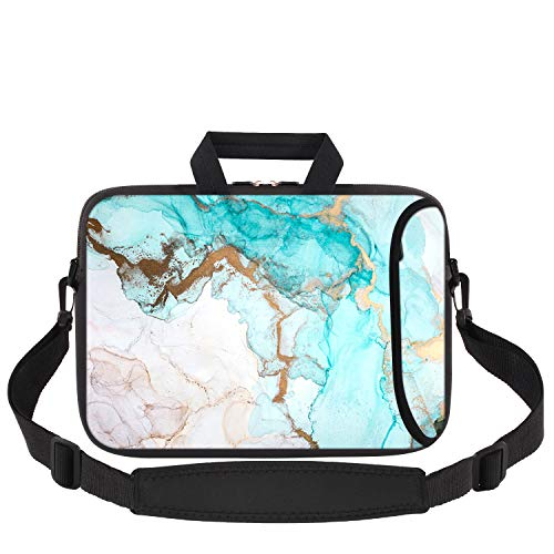 Laptop Bag 14-15.6 inch, iCasso Soft Neoprene Laptop Carrying Case with Adjustable Shoulder Strap Compatible with 15-15.6 inch MacBook Pro, MacBook Air,Notebook Computer,Ultrabook Tablet, Nodic Marble