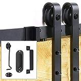 Signstek 6.6 FT Sliding Barn Door Hardware Kit Heavy Duty with Door Hook and 2 Handles (J Shape Hanger)
