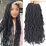 Leeven 18 Inch Nu Faux Locs Crochet Hair Curly Wavy Goddess Locs Crochet Braids Hair Black Synthetic Faux Locs Braiding Hair for Women 1B#