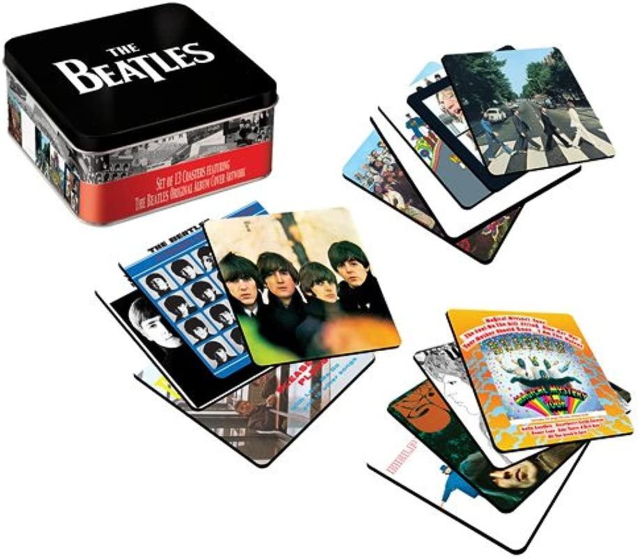 The Beatles Album Cover 13 Pc Coaster Set With Tin Storage Box