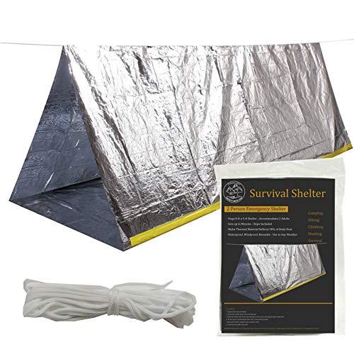 Tienda de campaña de supervivencia de emergencia, 59 x 99 pulgadas impermeable para 2 personas Mylar refugio térmico para senderismo camping (plata)