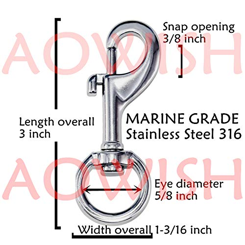 AOWISH 2-Pack 316 Stainless Steel Flag Pole Swivel Round Eye Bolt Snap Hook (3 Inch) Marine Grade Single Ended Flagpole Snap Clips Attachment Hardware to Attach Flag to Flagpole with Rope (Silver)