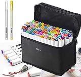 Markers Pen Set Professionale di pennarelli, 80 colori Punte a doppio segno pennarello, Artista Necessario Grafico Pennarello per Disegnare e Scarabocchiare