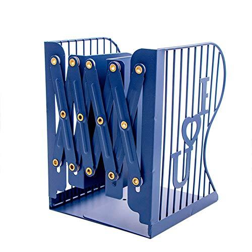 Demarkt - Sujetalibros de metal, para el escritorio, para biblioteca, escuela, oficina, hogar, libros, archivador, ajustable, fácil de deslizar 15×10×19cm azul