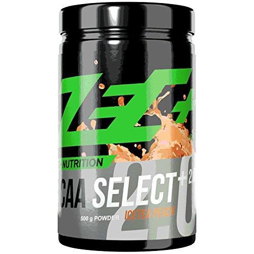 ZEC+ BCAA Select 2.0 – 500 g, BCAA Pulver mit Leucin, Valin & Isoleucin, hochdosiertes Aminosäuren Supplement mit Vitamin B6, Proteine für Erhalt der Muskeln, Geschmack Icetea-Peach