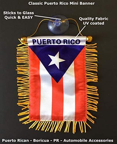 Puerto Rico-Flagge für Autozubehör, Rican PR Boricua Interoir-Aufkleber, Aufkleber zum Aufhängen an Fenster, Rückspiegel, Mini-Banner, haftet einfach an Glas (PR 1 Stück)