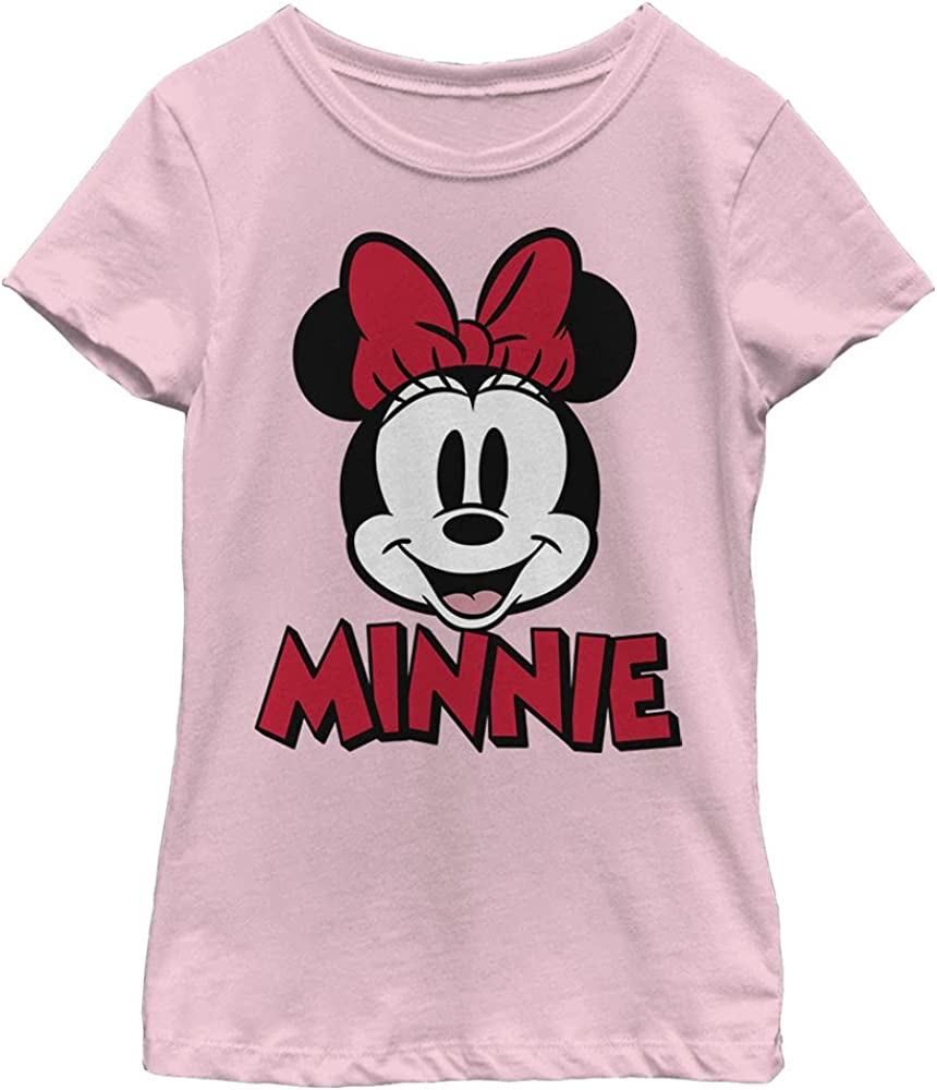 Disney Characters Minnie Chenille Patch Girl's Solid Crew Tee