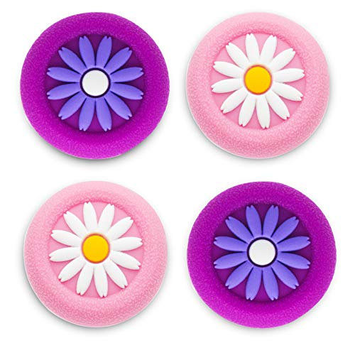 Playrealm Soft Rubber Silicone 3D Texture Thumb Grip Cover x 4 for PS5, PS4, Xbox Series X/S, Xbox One, Switch PRO Controller (Daisy Purple Coral Pack)