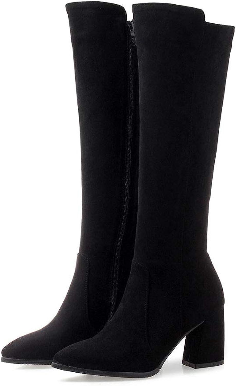 FCXBQ Mode Hohe Stiefel, High Heels Spitz Mit GroßEn Damen Knie Stiefel Seitlichem ReißVerschluss Wasserdichte Plattform Elastische Stiefel Warm  | Qualität und Verbraucher an erster Stelle