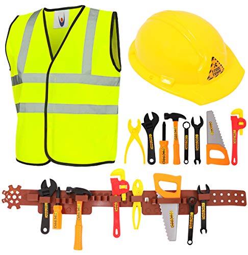 Kit de herramientas de juguete para nios, 11 piezas para constructor con cinturn de herramientas (10 herramientas nicas)  Disfraz de obrero de construccin para nios y nias (Grande)