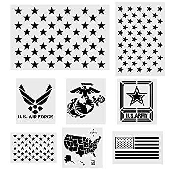 Koogel 8 Pcs Plastic Stencil Template+1 Mysterious Airbrush Stencils American Flag 50 Star U.S Map Flag Marine Corps Army Air Force  for Planner/Notebook/Diary/Scrapbook/Graffiti/DIY Drawing Painting