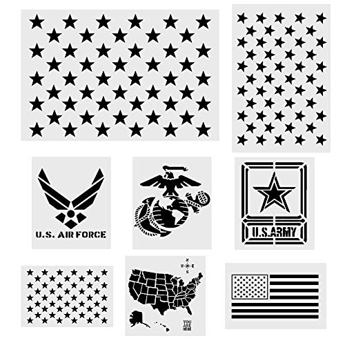Koogel 8 Pcs Plastic Stencil Template+1 Mysterious Airbrush Stencils, American Flag 50 Star U.S(Map Flag Marine Corps Army Air Force) for Planner/Notebook/Diary/Scrapbook/Graffiti/DIY Drawing Painting