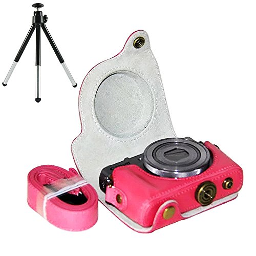First2savvv XJPT-G9X-02 Pink full body Precise Fit PU leather digital camera case bag cover with should strap for Canon PowerShot G9X G9 X + mini tripod