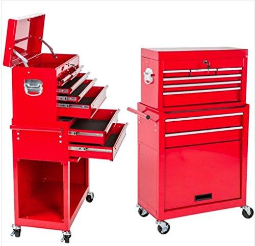 Carrello attrezzi 8 cassetti officina carrellino portautensili cassettiera ruote girevoli armadio cassettoni (Rosso)