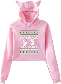 Women's Long Sleeve May All Your Christmases Bea White Print Cute Cat Ear Pullover Hoodie