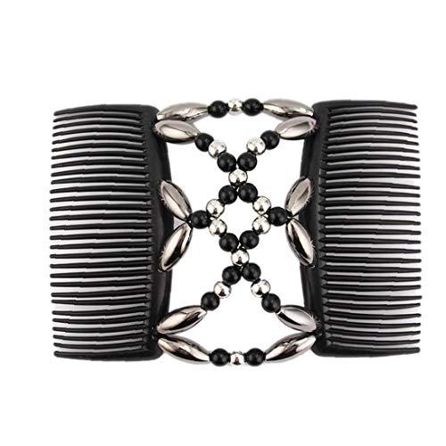 Perles Peignes magique élastique Élastique double pinces à cheveux Styling Noir Accessoire
