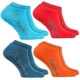Rainbow Socks - Damen Herren Sneaker Antirutsch Socken ABS - 4 Paar Jeans Rosa Türkis Orange - Größen 44-46
