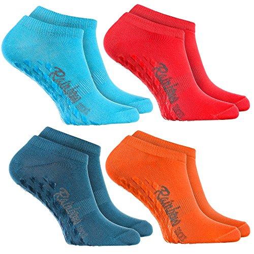 Rainbow Socks - Femme Homme - Chaussettes Courtes Antidérapantes ABS - 4 Paires Bleu Rouge Jeans Orange - Taille UE 39-41