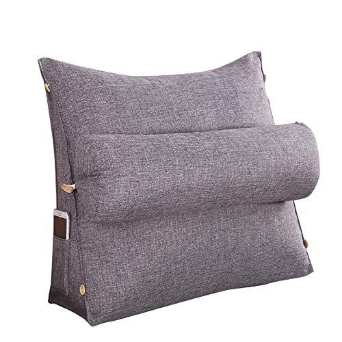 Cobeky Estéreo forma de cuña respaldo almohada cintura cojín lavable algodón lino sofá cojines cama descanso maternidad tumbona lectura almohada gris