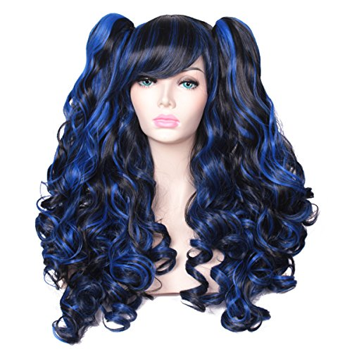 ColorGround Long Curly Multi-Color Cosplay Wig with 2 Ponytails(Black with Blue)