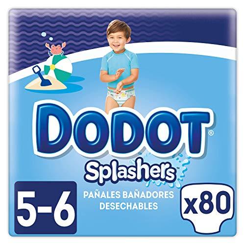 Dodot Splashers Talla 5, 80 Pañales bañadores desechables, 14+ kg, no se hinchan y fácil de quitar