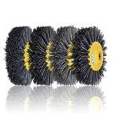 MYAMIA 150x40mm M14 Nylon Wire Drawing Wheel Brush 80/120/180/320 Grit Drum Burnishing Pol...