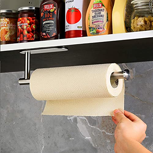 Aidou Soporte para rollo con estante sin clavos, para colgar en la pared, autoadhesivo, para debajo del gabinete, dispensador de película adhesiva para nevera de baño, fregadero