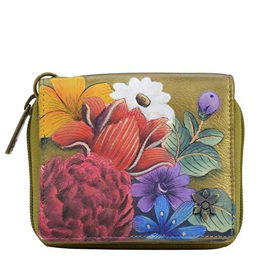 Anuschka Women's Genuine Leather Zip-Around Small Organiser Wristlet - Hand Painted Exterior - Dreamy Floral