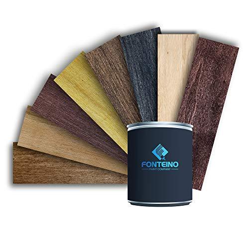 Dickschichtlasur 2in1 Holzlasur Wetterschutz Dauerschutz-Lasur Holzschutzlasur UV-beständig Außen und Innen - Teak 1L