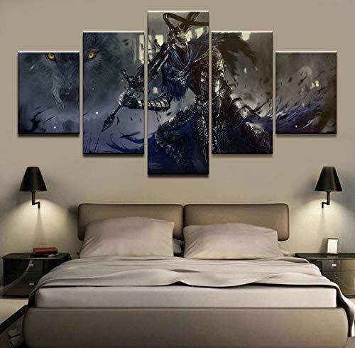 ZDDBD Cuadro Modular hogar Decorativo Arte de Pared Dibujar 5 Paneles Juego Dark Souls Warrior póster para Dormitorio Moderno Pintura en Lienzo