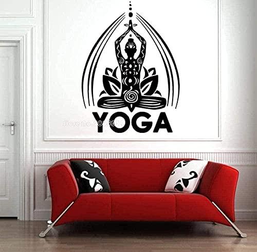 Etiqueta de la pared de PVC extraíble Yoga Pose etiqueta de la pared Lotus Mandala decoración de la pared cartel de pintura de pared 42 cm x 56 cm
