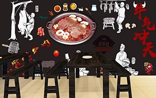 Tony plate 3D Foto tapete Wandgemälde Bier Barbecue Gegrillte Ganze Katze Bilder Restaurant Fast Food Restaurant Eiswagen Dessert Shop Coffee Shop Poster Wandbild-250Cmx175Cm(Lxh)