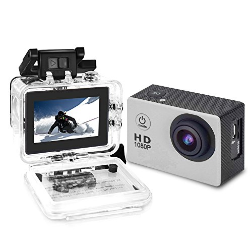 YUNTAB Sport Action Camera Vlog DV, HD 1080P 2.0 inch, 5MP, 120 Degree Wide-Angle, 30m Underwater Waterproof Camcorder(Silver) (Silver)