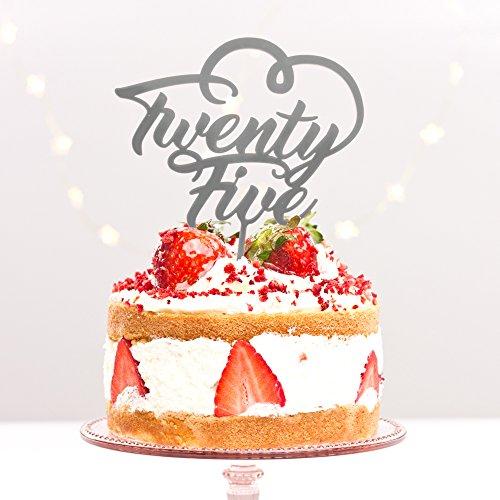 Directly Personalised Vingt Cinq 25 Fête d'anniversaire Anniversaire Âge 25th Argent Anniversaire de Mariage Acrylique gâteau