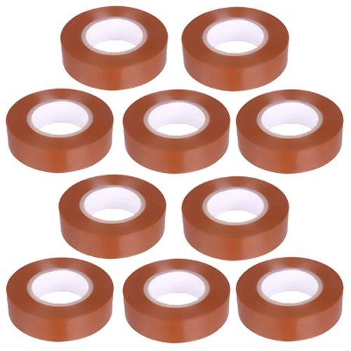10 nastri isolanti in PVC, lunghezza 10 m, larghezza 15 mm, colore marrone