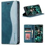 Casecond Funda para Xiaomi Redmi Note 10 / Redmi Note 10S 4G Cuero Premium Flip Folio Carcasa Case con Tarjetero Fundas Tapa Libro Magnético Bloqueo RFID Proteccion para Mujeres Hombres - Azul Verde