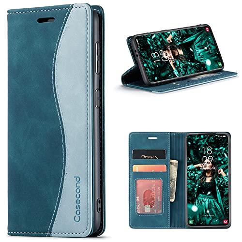 Casecond Funda para Xiaomi Poco X3 NFC/Poco X3 Pro Cuero Premium Flip Folio Carcasa Case con Tarjetero Fundas Tapa Libro Magnético con Bloqueo RFID Proteccion Mujeres Hombres - Azul Verde