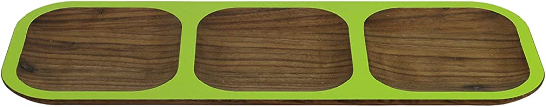 "product image for 15"" Handcrafted WUD Walnut Wood Hors d'Oeuvres Tasting Tray with Lime Green Trim"