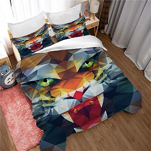 Bedclothes-Blanket Juego de sabanas Cama 150,Sujetada de Tres Piezas 3D Suministros de Cama 3D Animales de impresión digital-200 * 200 cm_2